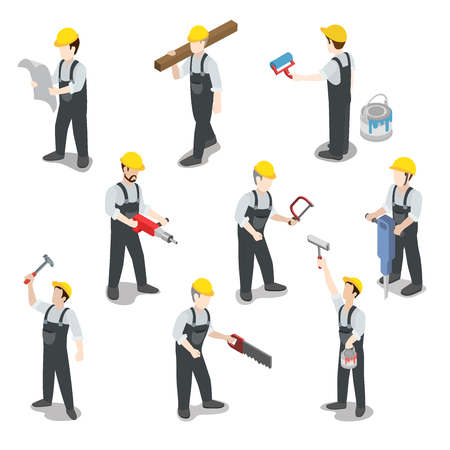 Photo pour Flat 3d isometric builder construction worker icon set concept web infographics vector illustration. Carpenter painter driller architect foreman swamper. Creative people collection. - image libre de droit
