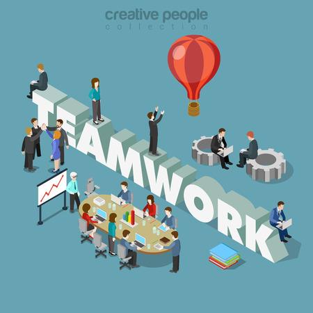 Ilustración de Flat 3d isometric style teamwork concept web infographics vector illustration. Businessmen at meeting table cogwheels and big teamwork word. Creative people collection. - Imagen libre de derechos