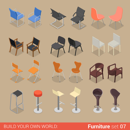 Illustration for Office home bar restaurant furniture set 07 chair seat armchair stool lounge element flat 3d isometry isometric concept web infographics vector illustration. Creative interior objects collection. - Royalty Free Image