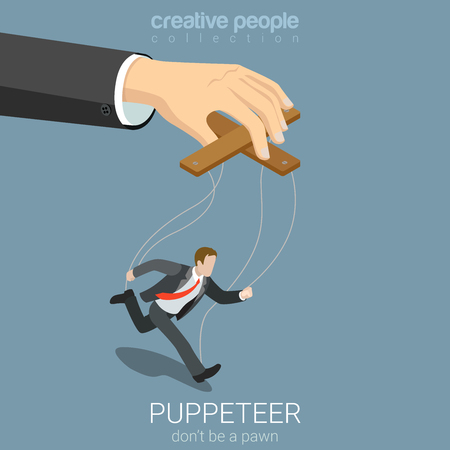 Illustrazione per Flat 3d isometric style puppeteer business concept web infographics vector illustration. Businessman puppet and big managing hand. Creative people website conceptual collection. - Immagini Royalty Free