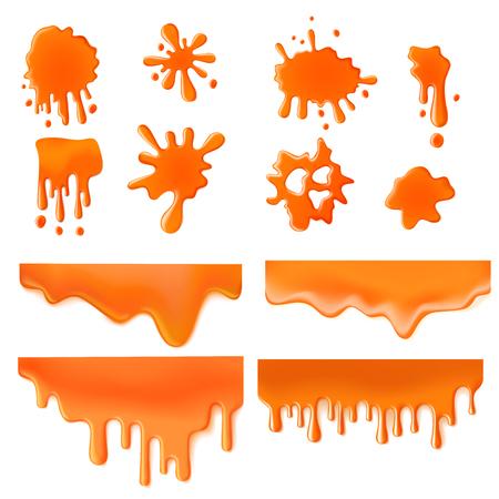Illustration pour Orange Liquid splash spot of paint design vector template concept icon set. Caramel sweet color creative collection. - image libre de droit
