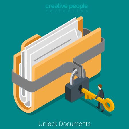 Illustration pour Unlock folder secure data file document with lock key icon. Flat 3d isometry isometric web vector illustration. - image libre de droit