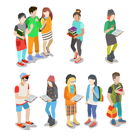 Illustration pour Active urban young student casual street people flat 3d isometric web infographic friendship concept vector icon set. Creative people collection. - image libre de droit