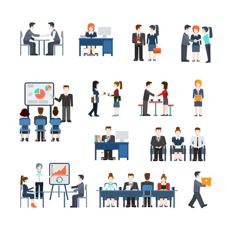Illustration for Office life business situations vector icon set. Flat style businessman working people handshake contract presentation meeting teamwork report waiting concept. lunch manager accountant secretary, colleagues, whiteboard - Royalty Free Image