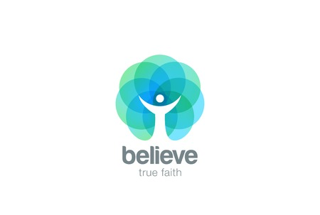 Illustration pour Church Faith Logo Pray Religion abstract design vector template. Religious Monk Belief Christian Logotype concept icon Negative space style - image libre de droit