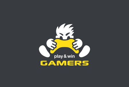 Ilustración de Player Gamer holding Game-pad Joystick Logo design vector template Negative space style. Play computer video Game with Passion Rage funny Logotype concept - Imagen libre de derechos