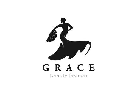 Ilustración de Dancing Woman Logo Fashion Beauty grace design vector template. Female Salon Jewelry Business Logotype concept icon Negative space style - Imagen libre de derechos
