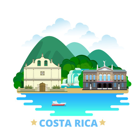 Costa Rica country design template. Flat cartoon style historic sight showplace web vector illustration. World vacation travel North America collection. National Theatre Iglesia Colonial De San Blas.