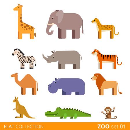 Cool flat design trendy style vector icon set. Zoo children wild farm domestic animal cartoon collection. Giraffe elephant cheetah zebra rhinoceros tiger camel hippo lion kangaroo crocodile monkey.