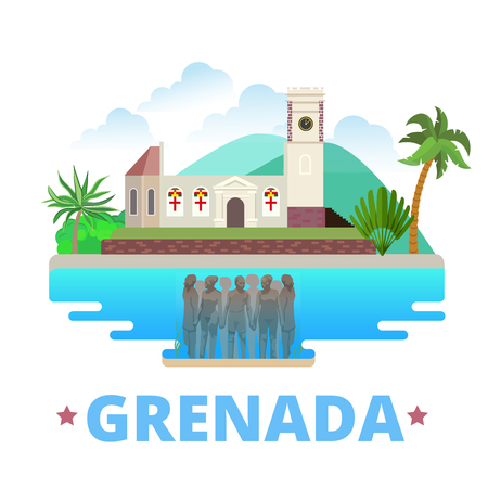 Grenada country design Flat cartoon style historic sight showplace web site vector illustration. World vacation travel North America collection. Molinere Underwater Sculpture Park St. George\'s church.