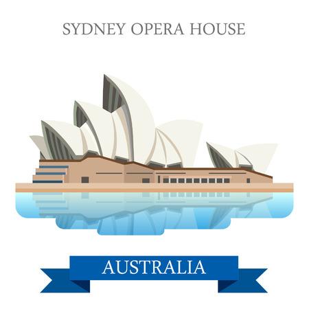 Vektor für Sydney Opera House in Australia. Flat cartoon style historic sight showplace attraction web site vector illustration. World countries cities vacation travel sightseeing Australian collection. - Lizenzfreies Bild