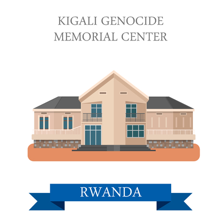 Kigali Genocide Memorial Centre in Rwanda. Flat cartoon style historic sight showplace attraction web site vector illustration. World countries cities vacation travel sightseeing Africa collection.
