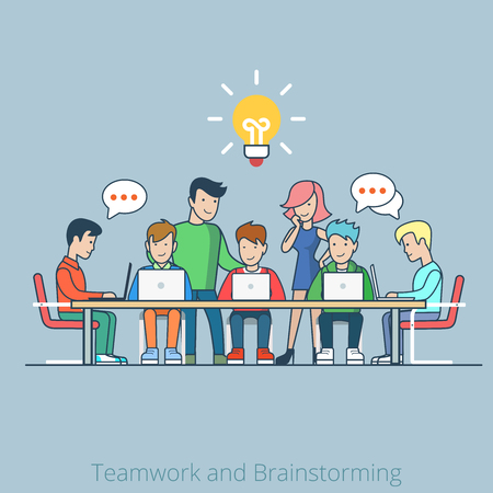 Linear line art flat style idea brainstorming creative team concept web infographics vector illustration. Cartoon people collection. Group of casual young male female working table icon.
