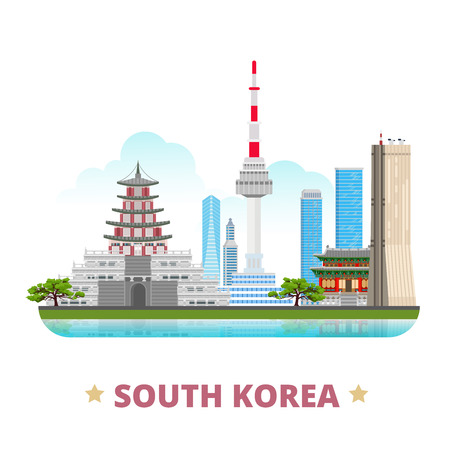 Ilustración de South Korea country design flat cartoon style historic place vector illustration. World vacation travel sightseeing Asia collection. Gyeongbokgung Palace 63 building Natinal Folk Museum N Seoul Tower. - Imagen libre de derechos