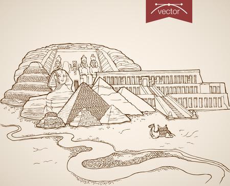 Illustration pour Engraving vintage hand drawn vector Cairo, Egypt travel. Pencil Sketch Sphinx, Pyramids, Citadel sightseeing illustration. - image libre de droit