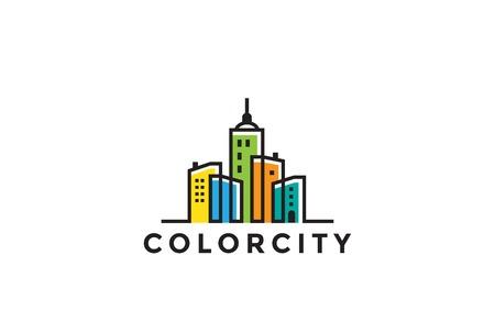Foto de Cityscape Buildings Real Estate Logo design vector template Linear style. Realty, Construction, Development Logotype concept icon - Imagen libre de derechos