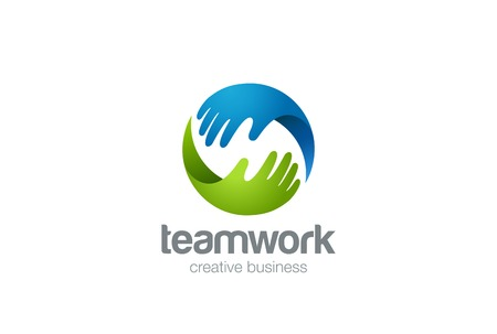 Illustration pour Teamwork Logo abstract two Hands helping. Circle design vector template. Friendship Partnership Support Team work Business Logotype icon - image libre de droit
