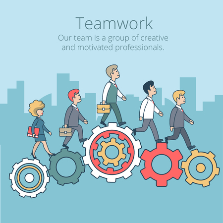 Foto per Linear Flat Businesspeople synchronously walking gearwheels vector illustration. Business corporate company professional team work concept. - Immagine Royalty Free