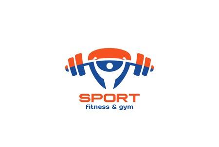 Illustration pour Sport Gym Fitness Logo design vector template triangle shape. Man rise barbell Logotype active healthy lifestyle concept icon - image libre de droit