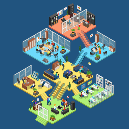 Illustration pour Flat isometric office center floors interior, company departments with staff vector illustration. 3d isometry Business Architecture concept. Director, accountant, manager, client, secretary characters - image libre de droit