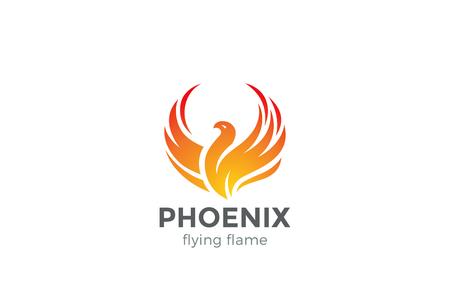 Ilustración de Phoenix Logo flying bird abstract design vector template. Eagle falcon soaring Logotype concept icon - Imagen libre de derechos
