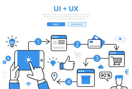 Linear flat UI + UX infographics template and icons website hero image vector illustration. Online store concept.
