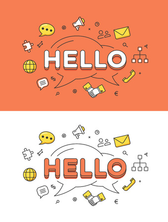Illustration for Linear Flat HELLO word over chat bubbles and icons website hero image vector illustration set. Global social network and communication concept. - Royalty Free Image