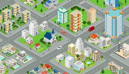 Vektor für Flat isometric megalopolis blocks infographics with roads and crossroads illustration - Lizenzfreies Bild