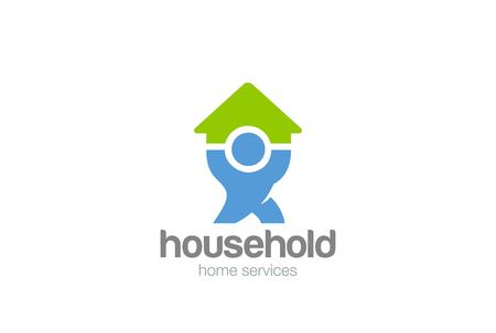 Illustration pour Household service Logo design vector template. Man holding House Home Logotype concept icon - image libre de droit