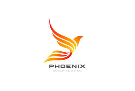 Ilustración de Flying Phoenix Fire Bird abstract Logo design vector template. Dove Eagle Logotype concept icon - Imagen libre de derechos