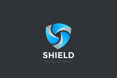 Ilustración de Shield Teamwork protect defense Logo design vector template - Imagen libre de derechos