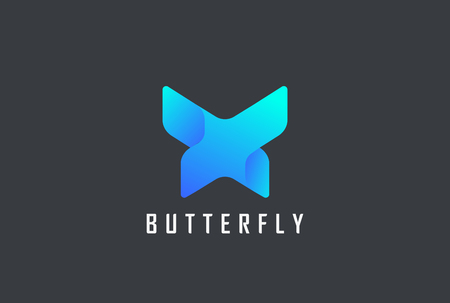 Ilustración de Butterfly geometric design abstract Logo vector template. Letter X technology style Logotype concept icon - Imagen libre de derechos