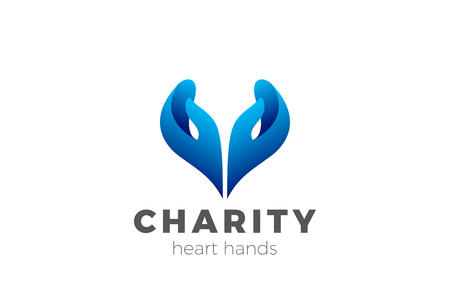 Illustration for Charity Help Hands Heart shape Logo design vector template. Donation organization Logotype concept icon - Royalty Free Image