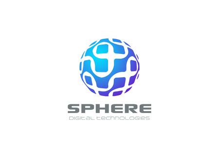 Ilustración de Molecular DNA Electronics Sphere Logo abstract vector design template. Hitech Global Digital virtual circle Logotype concept icon - Imagen libre de derechos
