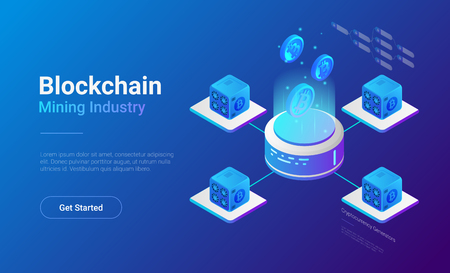 Illustration pour Isometric Bitcoin Miners Computers website vector banner design. Mining Industry Cryptocurrency illustration concept. - image libre de droit