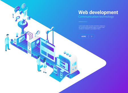 Ilustración de Isometric Flat Web development vector illustration. Website design laboratory Production studio concept - Imagen libre de derechos
