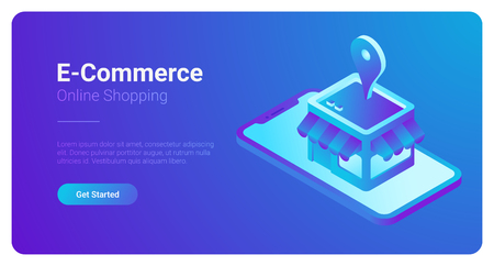 Illustration pour E-commerce isometric vector illustration. Web Shop Store in Smartphone - image libre de droit