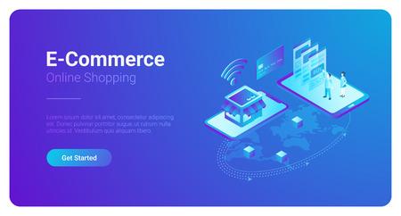 Ilustración de E-commerce isometric vector illustration. People buy pay with Smartphone and Credit Card in the web shop. World map global - Imagen libre de derechos