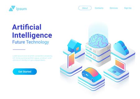 Illustration pour Isometric flat Artificial Intelligence digital Brain future technology colorful concept vector design. Laptop Electric Car Smartphone Brain House objects of AI - image libre de droit