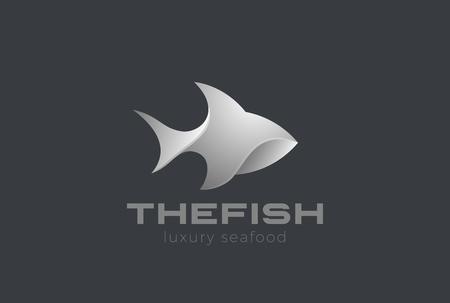 Illustration pour Fish Logo 3D design vector template. Seafood Restaurant store Jewelry Logotype concept icon - image libre de droit
