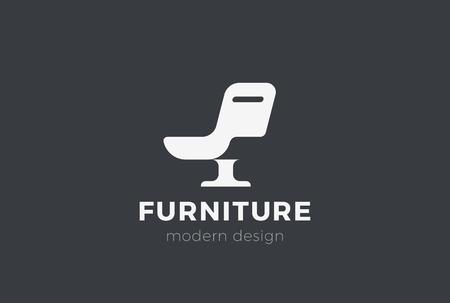 Ilustración de Armchair Furniture Logo design vector template Negative space style. Chair silhouette Logotype concept icon - Imagen libre de derechos