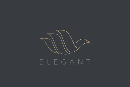 Illustration pour Flying Bird Logo Elegant design vector template Linear style. Dove Pigeon Cosmetics Fashion Luxury Logotype concept icon - image libre de droit