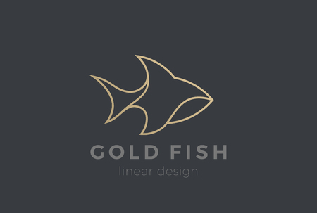 Illustration pour Fish Logo design vector template Linear style. Seafood Restaurant store Luxury Jewelry Logotype concept icon - image libre de droit