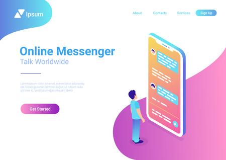 Illustration pour Man looks at chat messages on large smartphone. Online messenger concept flat 3d isometric vector - image libre de droit