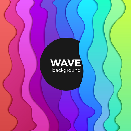 Ilustración de Wavy Colorful Background abstract design vector. Rainbow Waves creative template - Imagen libre de derechos