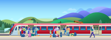 Illustration pour Boarding Train at the Railway Station with hills on background Flat Vector Illustration. People get on train from platform. - image libre de droit