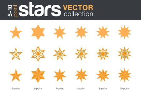 Photo pour Stars Shapes Silhouettes Vector collection. 5, 6, 7, 8, 9, 10-point stars in three styles. - image libre de droit