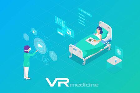 Illustration pour Medicine in Virtual Reality scanning Patient Isometric Flat Vector illustration - image libre de droit