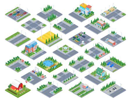 Illustration pour Countryside Road Isometric scene generator city creator vector design objects illustration. Cottage Private residence buildings park cafe cars street objects collection. - image libre de droit
