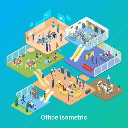 Illustration pour Isometric Office life People working vector flat design illustration - image libre de droit